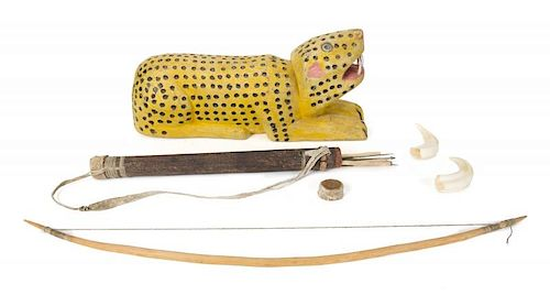 PATRICK SWAYZE AFRICAN WEAPONS AND CARVED LEOPARD by