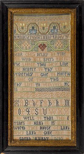 Fine English silk on linen band sampler, dated 1690, wrought by Sarah Knight, with bands of flow