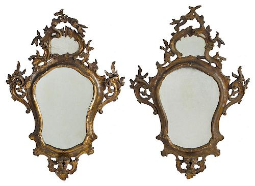 Pair of George II giltwood mirrors, mid 18th c., 47'' h.