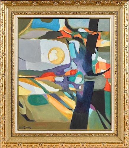 Marcel Mouly (French 1918-2008), oil on canvas abstract, signed lower left and verso, 28'' x 23 1/2