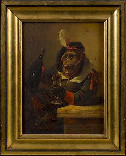 Zacharias Notermann (German 1820-1890), oil on panel of a monkey with a bottle of wine, signed low