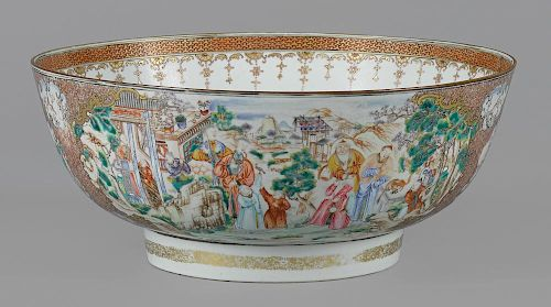 Large Chinese export porcelain mandarin palette punch bowl, early 19th c., 6 1/4'' h., 15'' w.