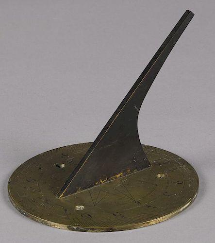 Benjamin Pike Jr., New York, brass sundial, 5'' h., 6'' dia. Provenance: Eberhard Luethke, Waldoboro
