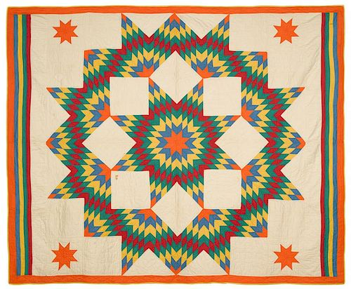 Pieced Lone Star quilt, early 20th c., 70'' x 87''. Exhibited: National Quilt Museum, Paducah, Kentu