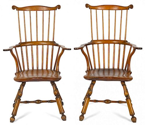 Rare pair of Philadelphia fanback Windsor armchairs, ca. 1790, with voluted ears and turnip feet,