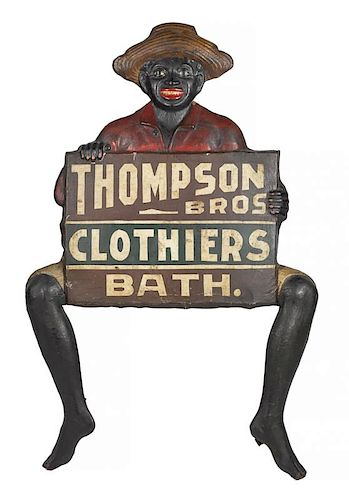 Black Americana painted tin advertising sign for Thompson Bros. Clothiers Bath., 55'' x 34 1/2''