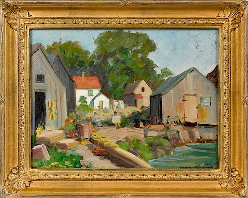 Richard Evett Bishop (American 1887-1975), oil on board titled Rockport Maine, signed lower righ