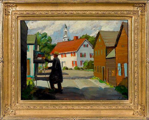 Richard Evett Bishop (American 1887-1975), oil on board titled The Artist in Rockport Massachuset