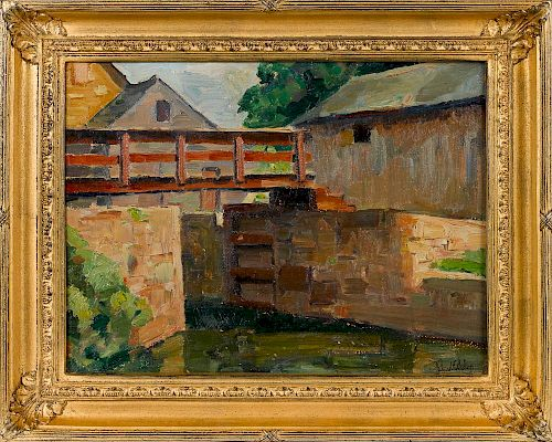 Richard Evett Bishop (American 1887-1975), oil on board titled Canal New Hope, Pa, signed lower