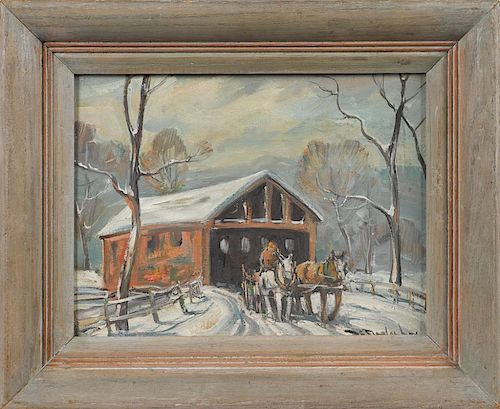 Bela DeTirefort (American 1894-1993), oil on board winter landscape with covered bridge, signed lo