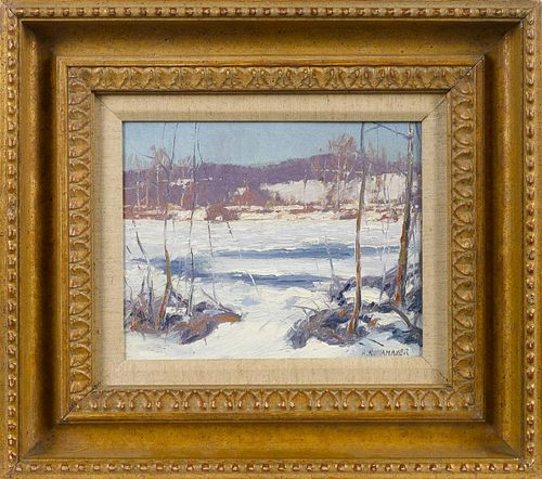 Alfred Nunamaker (American 1915-1988), oil on board titled New Hope Pa Frozen River, signed lowe