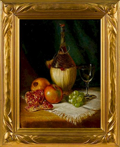 August Laux (American/German 1847-1921), oil on canvas still life with wine and fruit, signed lowe