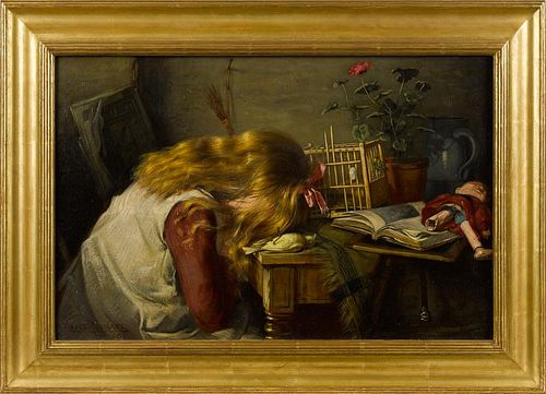 Harry Roseland (American 1868-1950), oil on canvas of a girl grieving over her dead canary, signed