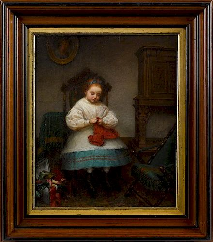 American oil on canvas interior scene, late 19th c., of a young girl playing with doll clothing, 1