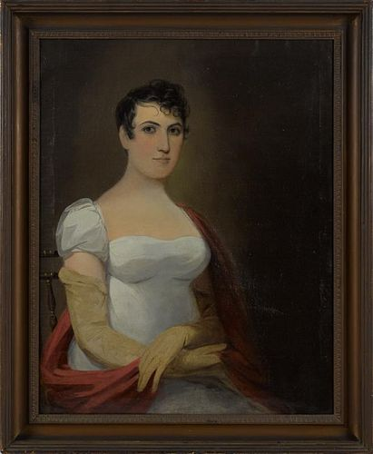 American oil on canvas portrait of a woman, ca. 1840, 33'' x 26''.