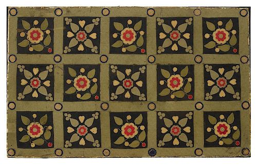Appliqué table cover, 19th c., with flowers in a grid, 31'' x 50''.