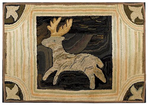 American hooked rug with deer, late 19th c., 31 1/2'' x 44 1/2''.