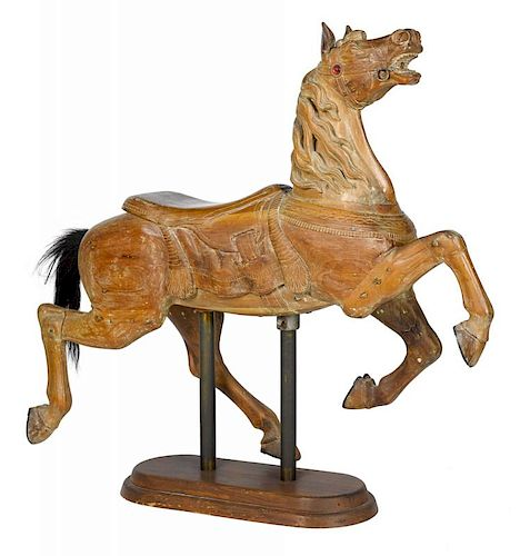 Carved horse carousel figure, ca. 1900, 52 1/2'' h.