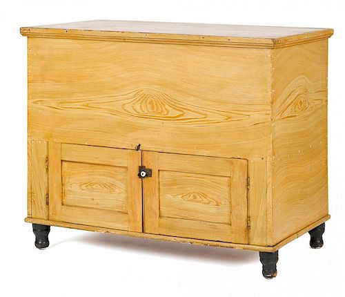 Lancaster, Pennsylvania painted poplar chest, 19th c., retaining its original ochre grain decorati