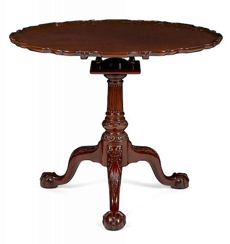 Kindel Winterthur Reproduction mahogany pie crust tea table, 28 1/4'' h., 34 1/4'' w.