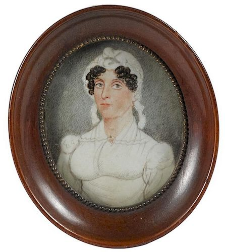 Miniature watercolor on ivory portrait of a woman, 19th c., 2 3/4'' x 2 1/4''.