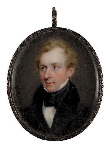 Thomas Story Officer (American 1810-1859), miniature watercolor on ivory portrait of a gentleman,