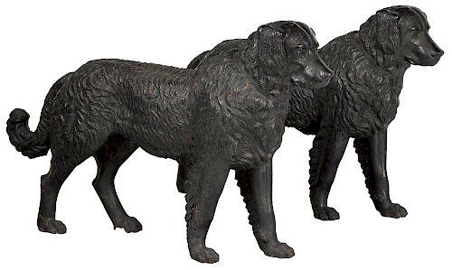 Important pair of Philadelphia Wood and Perot cast iron Newfoundland dog garden figures, ca. 1857-1