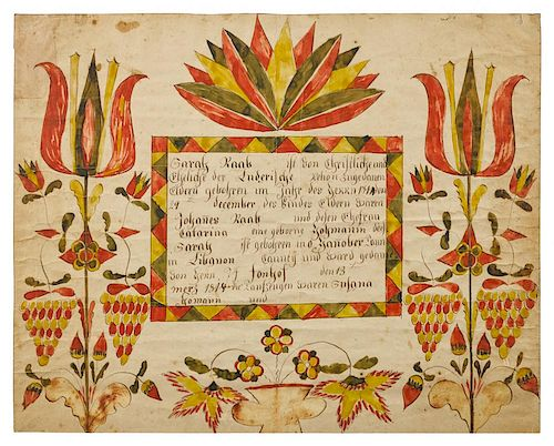Abraham Huth (Lebanon County, Pennsylvania, active 1807-1830), ink and watercolor fraktur birth ce