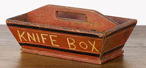 Painted pine knife box, late 19th c., 6 1/2'' h., 14 1/4'' w.