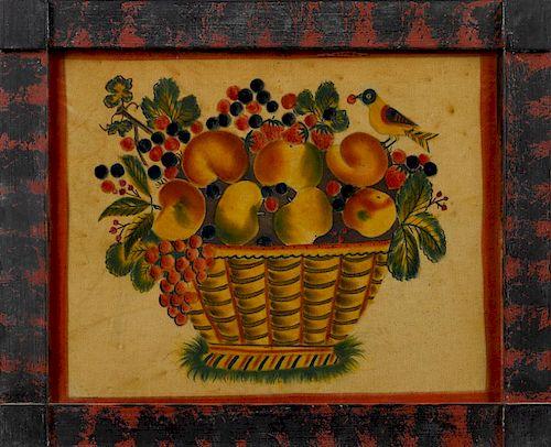 David Ellinger (American 1913-2003), oil on velvet theorem of a basket of fruit, initialed upper r