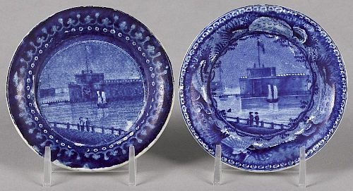 Two Historical blue Staffordshire Castle Garden Battery New York cup plates, 3 5/8'' dia.