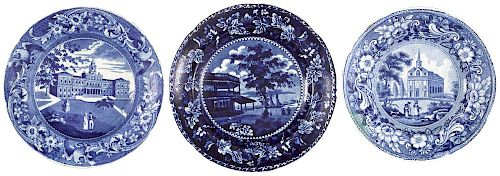 Three Historical blue Staffordshire plates, depicting New York Battery, City Hall New York, and Ca