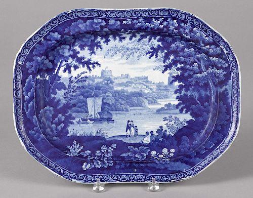 Blue Staffordshire platter, with landscape decoration, 13'' l., 17'' w.