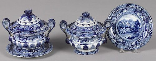 Pair of blue Staffordshire covered bowls, with underplates decorated with country scenes, 7 1/2'' h