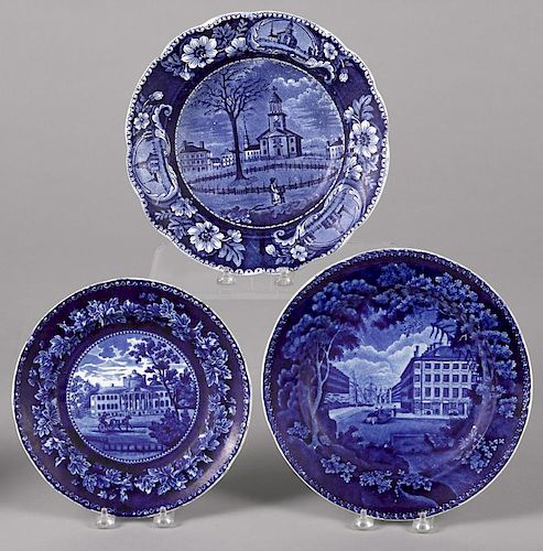 Historical blue Staffordshire soup bowl and two plates, depicting Winter View of Pittsfield, Mitch