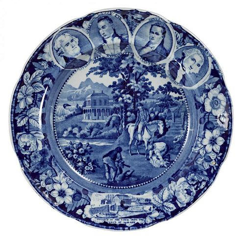 Historical blue Staffordshire Niagara medallion plate, with images of Jefferson, Lafayette, Clinto