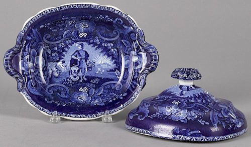 Historical blue Staffordshire Peace and Plenty covered vegetable, 6 1/2'' h., 12 1/4'' w.