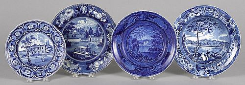 Three Historical blue Staffordshire plates, together with a shallow bowl with Pennsylvania views,