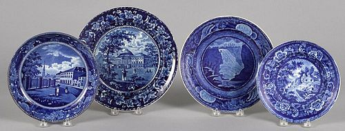 Three Historical blue Staffordshire plates and a shallow bowl, depicting Capitol Washington, Fall