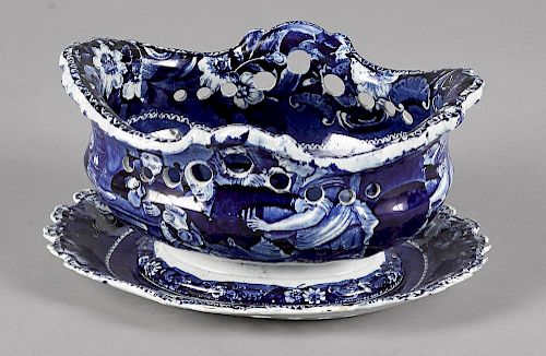 Blue Staffordshire Dr. Syntax reticulated basket and undertray, 5 3/4'' h., 11 3/4'' w.