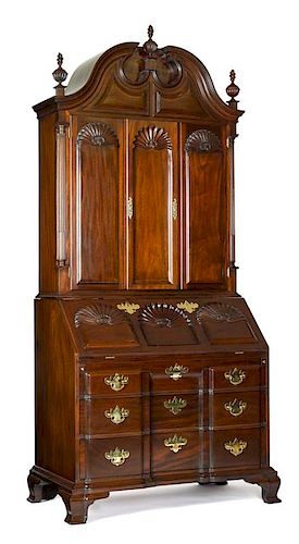 Kindel Winterthur Reproduction mahogany secretary desk and bookcase, 98 1/4'' h., 42 1/4'' w.