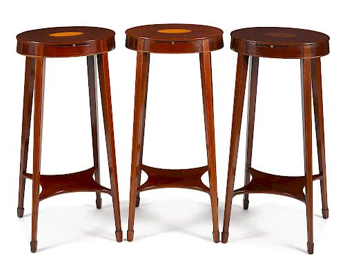 Three Kindel inlaid mahogany kettle stands, 28'' h., 13 1/2'' w.