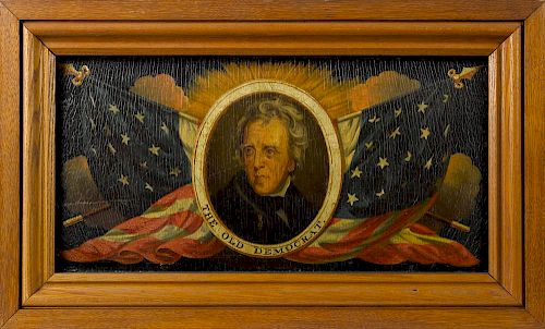 Edward Hicks (American 1780-1849), oil on poplar panel portrait of Andrew Jackson ''The Old Democra