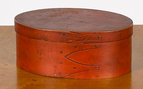 Shaker painted bentwood box, 19th c., in original bittersweet, the lid signed Catharine Vedder,
