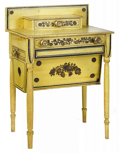 New England painted pine dressing table, ca. 1830, with unusual sliding bin on underside, retainin