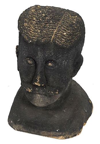 Pennsylvania carved stone boundary marker, 19th c., in the form of a gentleman's head, 17 1/2'' h.