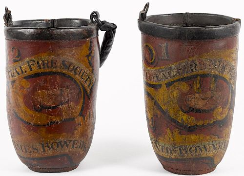 Pair of painted leather fire buckets, dated 1823, both inscribed Mutual Fire Society and Jame