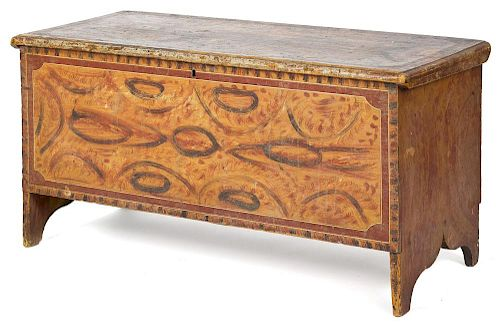 New England painted pine blanket chest, early 19th c., retaining its original polychrome surface,