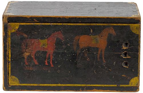 Painted pine slide lid box, 19th c., the lid decorated with two horses, 6 3/4'' h., 14'' w., 8'' d.