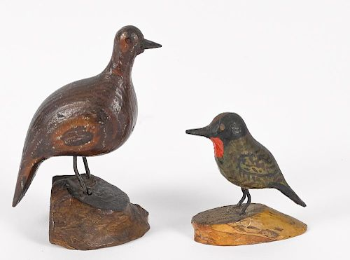 Joseph Moyer (Berks County, Pennsylvania 1883 - 1962), two carved song birds, both signed on base,